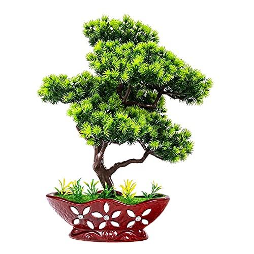 Plantas falsas / Árboles artificiales Árbol de bonsáis artificial de 15 pulgadas, decoración interior Plantas verdes Pinetes falsos, plástico Faux Bounding Pine Bonsai Plantas de interior artificiales
