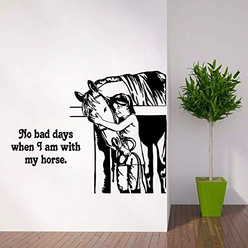 Vivero Caballo Cita Pared Calcomanía Jinete Diseño Occidental Decoración Caballo Arte De La Pared Mural Ventana Pared Vinilo Cartel 42X33 Cm