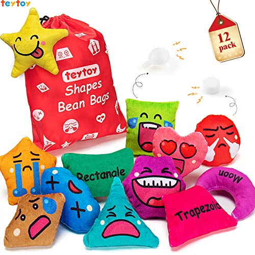 teytoy 12 Pack Shapes Bean Bags for Toddlers, Preschool Educational Learning Activities Toy, Geometric Sensory Toys for Kids Girls Boys, Emotion Shapes Colors Squeaky Rattle (Stuffed Cotton)