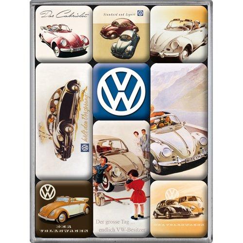 Nostalgic-Art Juego de Imanes Retro Classic – Regalo de Furgoneta Volkswagen, Decoración para la Nevera, Diseño Vintage, 7x9.3x2 cm