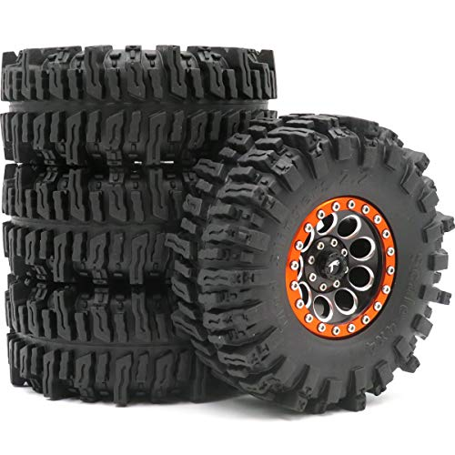4pcs RC Crawler 2.2 Mud Slingers Tires Tyres OD 124mm & Alum 2.2 Beadlock Wheels Rims