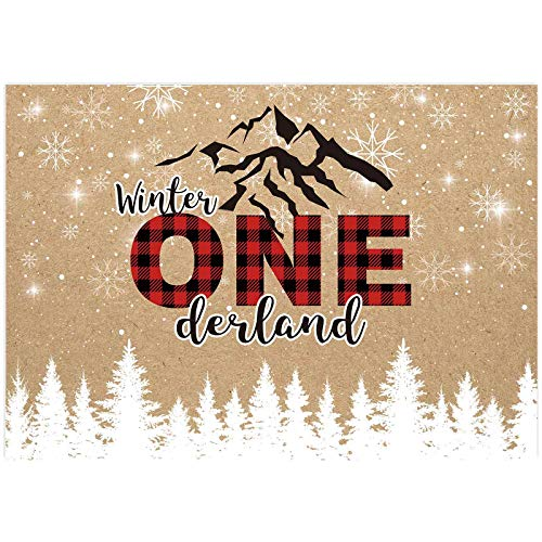 Allenjoy Winter Wonderland Backdrop Snow Pine Snowflake Mountain Kids 1st Birthday Onederland Party Decoration Banner 7x5ft Girl Boy Red Black Grid Christmas Photo Booth Background Photoshoot Props