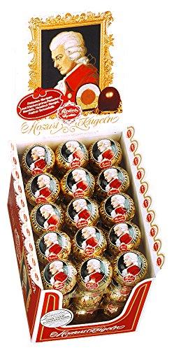 Reber Echte Reber Mozart-Kugeln, Pralinen aus Zartbitter-Schokolade, Marzipan, Nougat, Tolles Geschenk, 45er-Aufstellkarton
