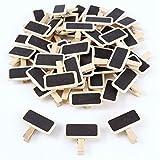 TOOGOO 50 Mini Tableau Noir Bois Message Rectangle Ardoise A Pince Clip Carte Panneau memos Etiquette Prix Marque Place Numero Table