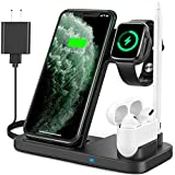 [Latest 2020] 4 in 1 Wireless Charger, Fast Wireless Charging Dock Station for Apple iWatch SE/6/5/4/3/2/1, AirPods Pro/2 &Pencil Compatible with iPhone 11/11 Pro Max/XR/XS Max/Xs/X/Samsung