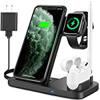 4 in 1 wireless charging station: The wireless charging station support to charge your four devices--mobile phones, watch, airpods and pencil at the same time. Adjustable and foldable design: Magnetic metal support plate can be adjusted the phone and...
