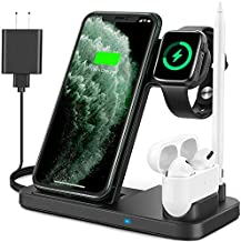 Powlaken Wireless Charging Station, 4 in 1 Charging Dock Station Compatible with Apple iWatch Series SE 6 5 4 3 2, AirPods Pro 2 and Pencil, Fast Wireless Charger for iPhone 11, 11 Pro Max, XR, XS