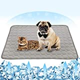 Summer Cooling Mat for Dogs Cats Ice Silk Self Dog Cooling Mat Breathable Pet Crate Pad Portable & Washable Pet Cooling Blanket for Outdoor or Home (28 X 22in, Grey)
