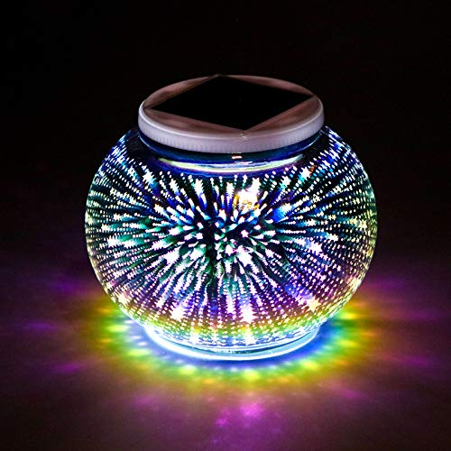 Color Changing Solar Powered Glass Mosaic Ball Garden LED Lights, Waterproof Rechargeable Solar Table Lights for Garden, Patio, Party, Yard, Outdoor/Indoor Decorations Presents (Star Style)