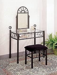 The Furniture Source Sunburst Design Black Vanity Set - Table, Mirror and Bench