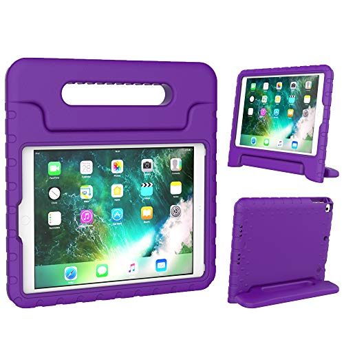 Surom New iPad 9.7 Inch 2018 / 2017 Case - ShockProof Case Light Weight Kids Case Cover with Handle Stand Case for Apple iPad 9.7 Inch 2018 & 2017 New Model/iPad Air/iPad Air 2 Tablet, Purple