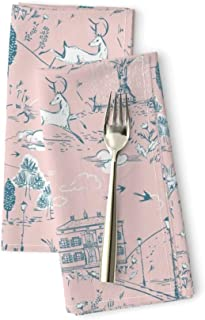 Roostery Toile Linen Cotton Dinner Napkins Le PARC (Blush) Park Garden Woodland Deer Birds Spring Girl Nursery Pink and Blue White by Nouveau Bohemian Set of 2 Dinner Napkins