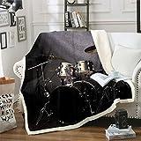 Loussiesd Drum Kit Manta de forro polar con temática de música rock para sofá, cama, patrón musical, manta sherpa, manta transpirable para hombre joven de 76 x 101 cm