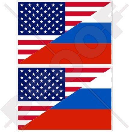 USA Vereinigte Staaten von Amerika und RUSSLAND, Amerikanisch und Russische Föderation Flagge, Fahne 100mm Auto & Motorrad Aufkleber, x2 Vinyl Stickers