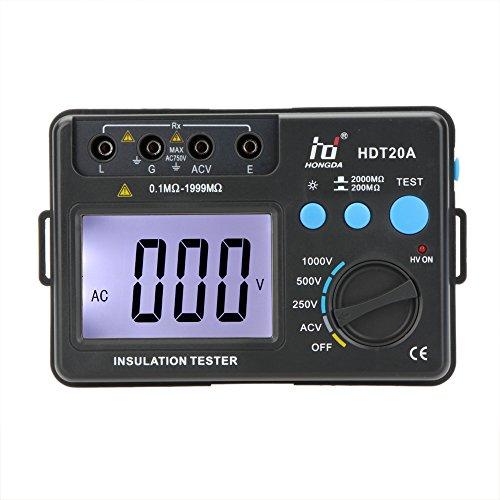 Roeam Medidor de Aislamiento Electrico Digital,HD HDT20A Voltímetro Tester Megóhmetro Megger Probador Comprobador de Resistencia L/G/ACV/E Puerto,Luz de Fondo