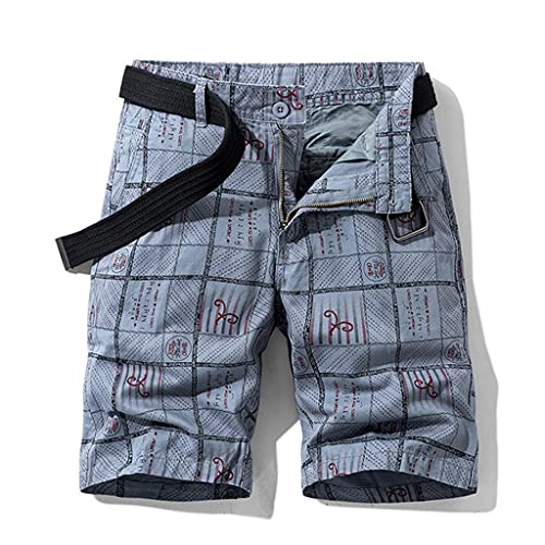 WZHZJ Sommer Plaid Muster Baumwolle Casual Shorts Overalls Herren Britische Straßenstil Mode Shorts (Color : D, Size : 38)