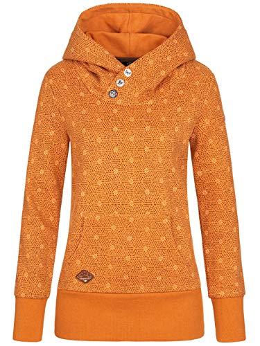 Ragwear Chelsea Damen,Streetwear,Kapuzenpullover,Hoodie,hoher Stehkragen,vegan,Knopfleiste,Seitentaschen,Curry,S