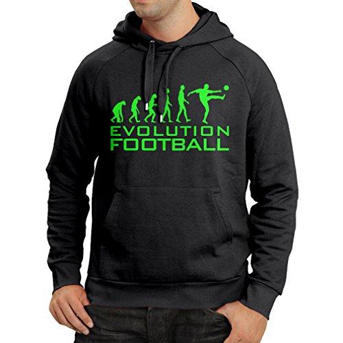 lepni.me Sudadera con Capucha La evolución del fútbol - Camiseta de fanático del Equipo de fútbol de la Copa Mundial (XXX-Large Negro Verde)