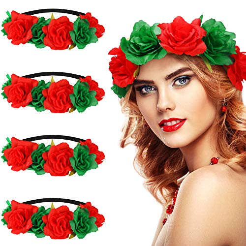 WILLBOND 4 Pieces Christmas Rose Flower Crown Headbands Red and Green Festival Hair Wreath Headbands Artificial Flower Headpieces for Xmas Wedding Festival Party