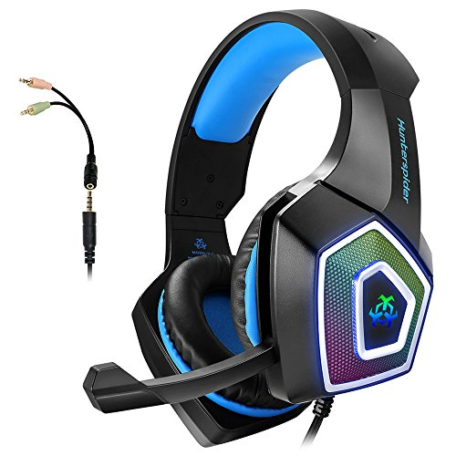 Gaming Headset with Mic, Headphones Stereo Over Ear Bass 3.5mm Microphone Noise Canceling 7 LED Light Soft Memory Earmuffs(Free Adapter)
