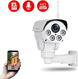 Jennov Full HD 2.0MP 1080P WiFi IP Wireless Security Cameras Outdoor Waterproof CCTV Pan Tilt Zoom PTZ Camera with Built-in 16G Micro SD Card Day Night Vision Mobilephone Remote View