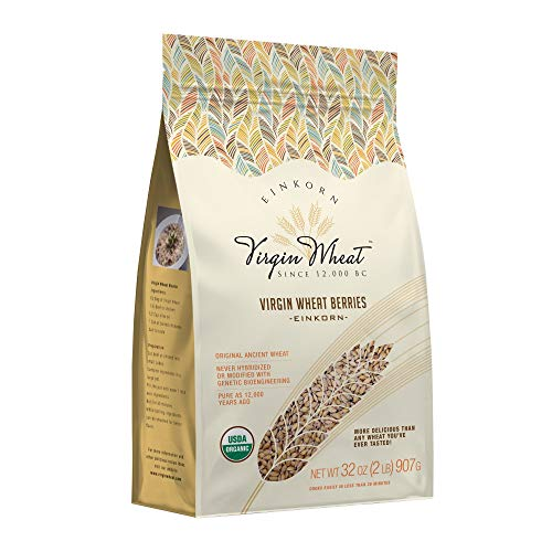 2 lb Ancient Einkorn Wheat Berries Unchanged For 12,000 Years Great For Gluten Issues & Easy As Rice To Cook | Ancient Heritage Whole Grains Virgin Wheat | Organic Einkorn Whole Wheat Berries – 32 Oz