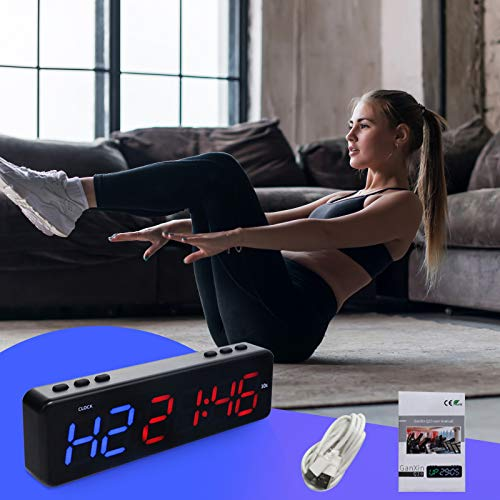 TTLIFE Intervall Gym Timer (blau rot) LED Training Timer Uhr, tragbarer Fitness-Timer mit Bluetooth-Steuerung, 11 Timing-Modi Countdown / Up Uhr Entwickelt für alle Sport Training Fähigkeiten