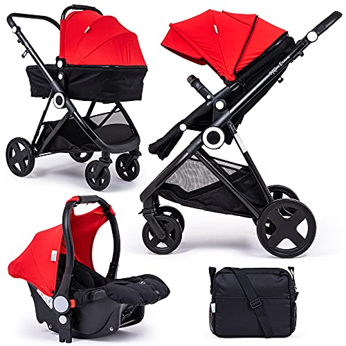 For Your Little One Million Dreams 3 in 1 Travel System, Group 0 Car Seat + Carrycot, Mattress from Birth, Buggy with Lying Function, Changing Bag, Large Basket, Small Folding - Red