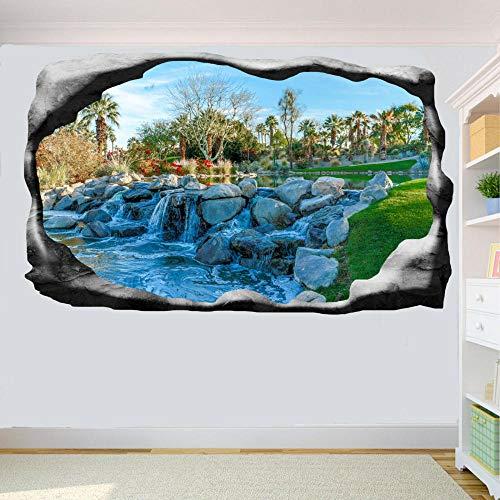 Pegatinas de pared con vista 3D, pegatina de pared de cascada de parque, póster artístico en 3D, calcomanía Mural, decoración-50 CM x 70 CM