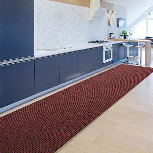 Floordirekt Küchenläufer Granada | Teppich-Läufer auf Maß für die Küche | Breite: 80 cm, viele Farben | Moderne & hochwertige Wohnteppiche (Rot, 80 x 200 cm)