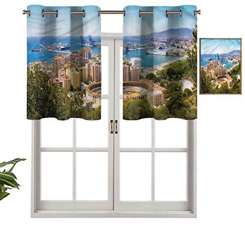 Hiiiman Cortinas cortas, con ojales para ventana, vista aérea de Málaga, juego de 1, 137 x 45 cm para baño y cocina