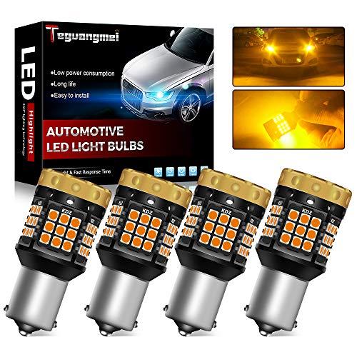 Teguangmei 4X Lampadine Indicatori di Direzione,Nessun Hyper Flash 1850Lumen 45SMD 1156 BA15S 7506 P21W Canbus Error LED Gratuiti Lampadine per Indicatori di Direzione Anteriori e Posteriori 12V Ambra