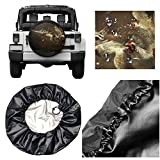 OPLONG Tough Tire Wheel Soft Cover, Spare Tire Cover PVC Leather Waterproof Dust-Proof, Wheel Tire Protectors Fit for Trailer, Rv, SUV, Truc Panicked Cock 14 inch