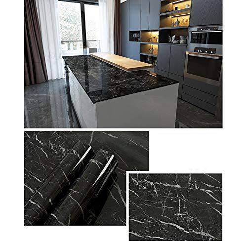 GHMM Tapeten wasserdichte marmorierte Aufkleber Küche Öldicht Schranktisch Selbstklebende Tapete...