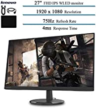 """$239 » 2020 Newest 27"""" WLED Monitor for Business and Student, FHD, IPS, FreeSync, 75Hz Refresh Rate, HDMI, VGA, 16.7 Million Colors, 4ms Response Time, Ergonomic Design, Black w/Accessories"""