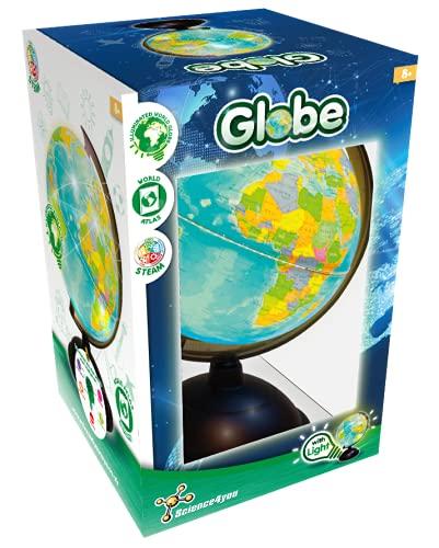 Science4you-Globo Terraqueo con Luz para +8 Bola del Mundo Interactiva y Atlas Ciencia, Regalos Cientificos y Tecnologia, Juegos Educativos Niños 8-14 Años (8003086)