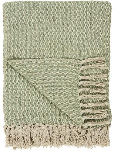IB Laursen Plaid Decke Sofadecke Bettüberwurf Tagesdecke Creme/Grün Muster Baumwolle 160 x 130 cm 6510-22