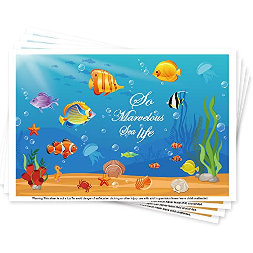 Table Topper Disposable Stick-on Placemats for Girls & Boys Kids Toddlers Baby , Reusable Portable Dining Table Mats Pads 12' x 18', 40 Count, Perfect to Home Restaurants Travel,Ocean Sea Life Theme