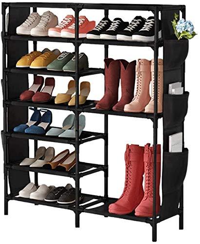Zapatero de 7 niveles, zapatero, zapatero, 24-30 pares de zapatos, apilable, no tejido, para manualidades, ahorra espacio