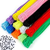 EpiqueOne 1300pc. Kids Arts & Craft Supply Set, 1200 Fluorescent Chenille Pipe Cleaner Stems in 12 Assorted Colors, Plus 100 Googly Eyes for Decorations, DIY Crafting Kit for Adults and Kids