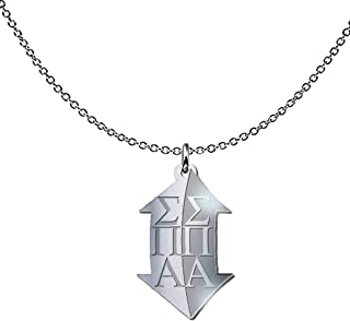 Sigma Pi Alpha Sorority Freeform Pendant Necklace - 925 Sterling Silver - Sisters Pledges House Gift