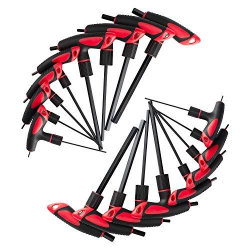 Lichamp T Handle Allen Wrench Set SAE Metric, Standard Thandle Tee Handle Allen Hex Key Set SAE Metric, 5/64-3/8 inch, 2-10mm, 16 Pieces HeavyDuty Excellent Set