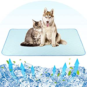 """Pawaboo Pet Cooling Mat for Dogs and Cats, 47""""× 28"""" Washable Bed Mat Cooling Pads Comfortable All Summer, Large Size Pet Pee Pad Non-Slip Feeding Mat for Home and Travel – Blue"""