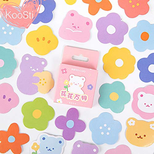 46PCS/Set Cartoon Bear Colorful Flowers Stickers Lot Kawaii Sticker DIY Case Planner Scrapbooking Decoration Korean Stationery