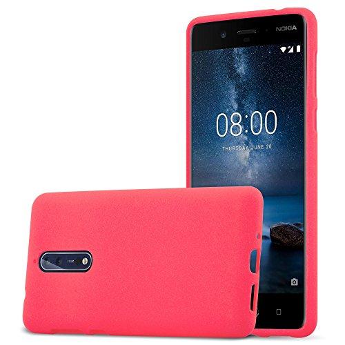 Cadorabo Custodia per Nokia 8 2017 in Frost Rosso - Morbida Cover Protettiva Sottile di Silicone TPU con Bordo Protezione - Ultra Slim Case Antiurto Gel Back Bumper Guscio