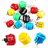 Botones Arcade, Senteen 24pcs Interruptor Arcade24mm 30mm Botones Iluminados Arcade Conmutables Pulsadores Arcade De Colores Para Push Button Diy Fighting Stick Pc Joystick Juegos Parts
