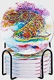 CIKYOWAY Posavasos para Bebidas,Arowana Fish Magic Feng Shui Acuario Pez dragón Chino Símbolo de Agua Escala Dorada Juego de 6 Posavasos absorbentes con Soporte de Metal,para Casa Restaurante Y Bar