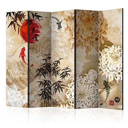 murando Raumteiler Foto Paravent Orient Japan Asia 225x172 cm beidseitig auf Vlies-Leinwand Bedruckt Trennwand Spanische Wand Sichtschutz Raumtrenner Home Office Blumen Zen p-C-0003-z-c