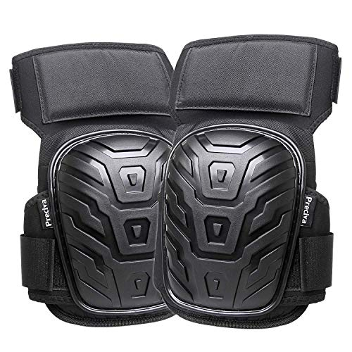 Professional Knee Pads for Work, Preciva Heavy Duty Gel Cushion and Foam Padding Knee Pads with Anti-Slip Straps and Easy-Fix Clips for Men, Women, Gardening, Flooring