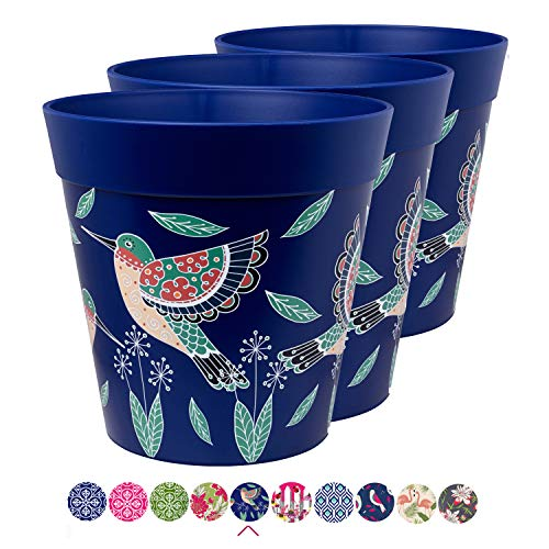 Hum Blumentöpfe im 3er-Set, Kunststoff, Kolibri, blau, farbenfrohe Pflanzgefäße, Blumentöpfe für drinnen und draußen, 22 x 22 cm
